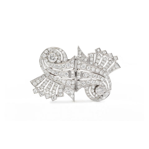 Estate Platinum Diamond Pin/Lapel Clips