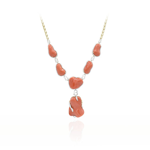 18kt Yellow Gold Natural Coral and Diamond Necklace