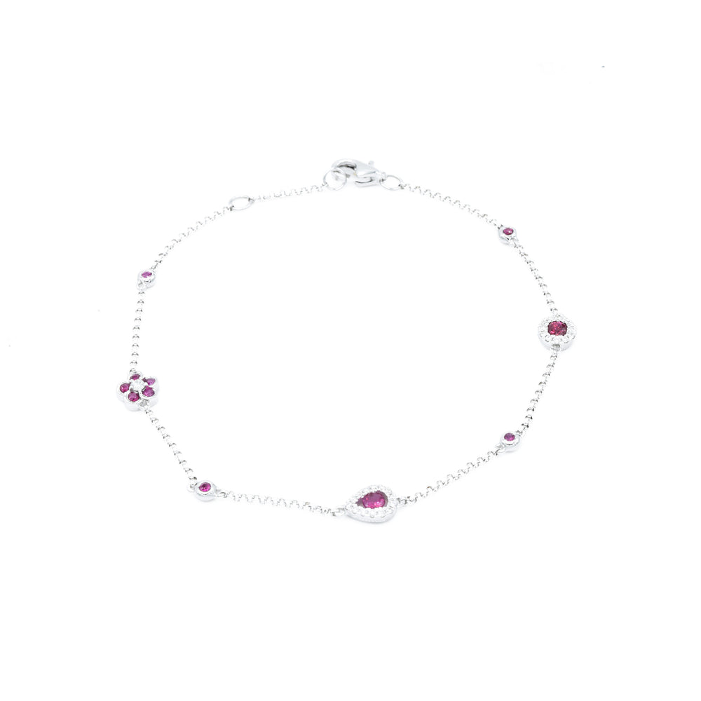 18kt White Gold Ruby and Diamond Section Bracelet