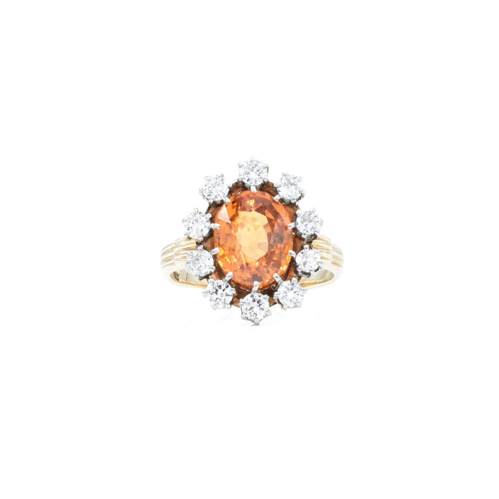 Estate 14kt Gold Spessartite Garnet and Diamond Ring