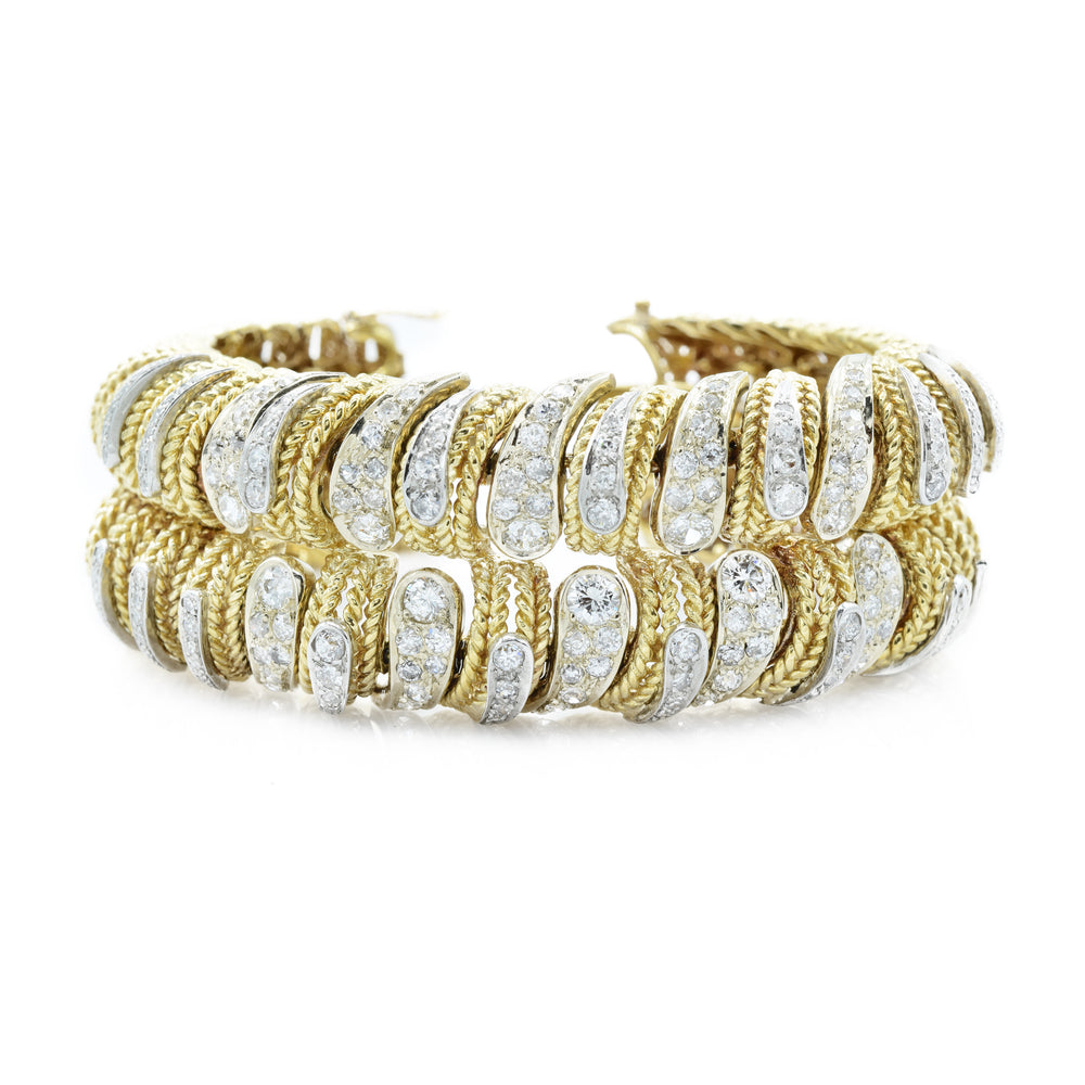 Estate Diamond 18k Gold Handmade Bracelet