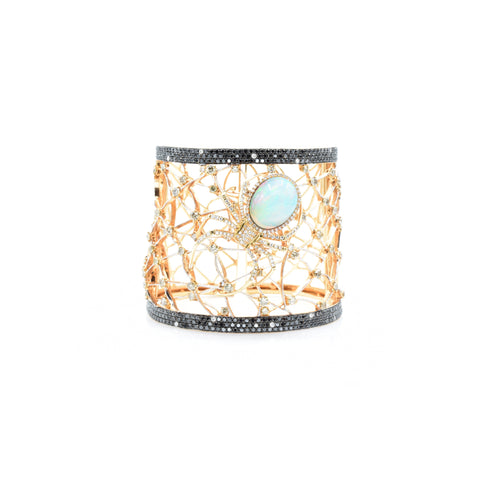 18kt Rose Gold Opal and Diamond 'Spider' Bangle