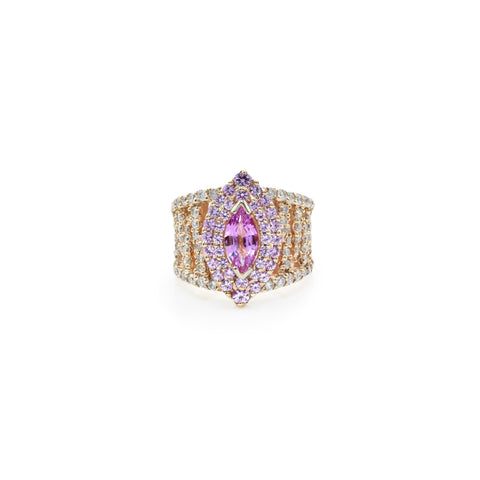 18kt Rose Gold Diamond and Pink Sapphire Ring