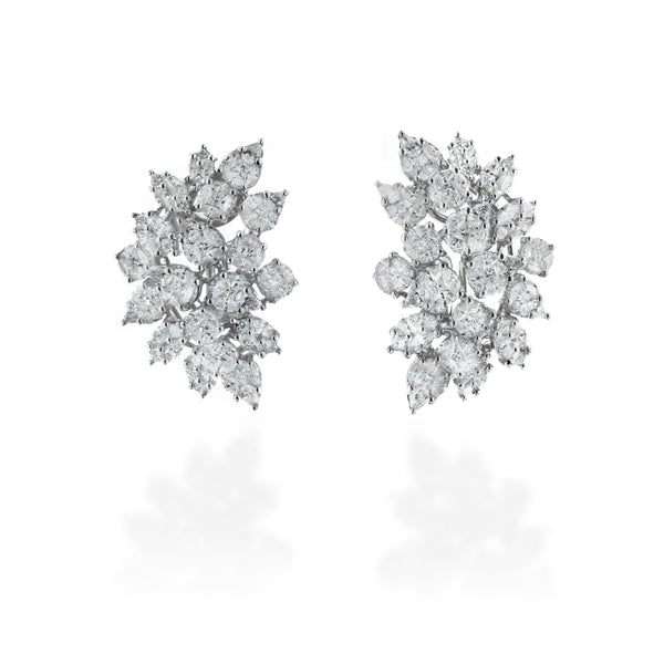 Multi-cut 4.46ct Diamond 18kt White Gold Earrings