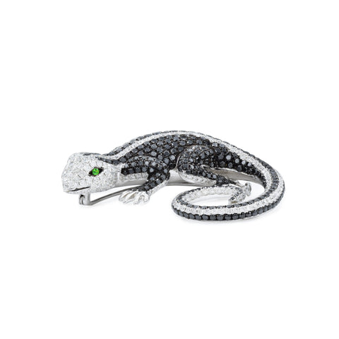 18kt White Gold Black and White Diamond Lizard Brooch