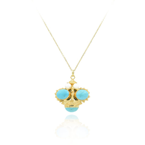 Estate 18kt Turquoise and Pearl Pendant