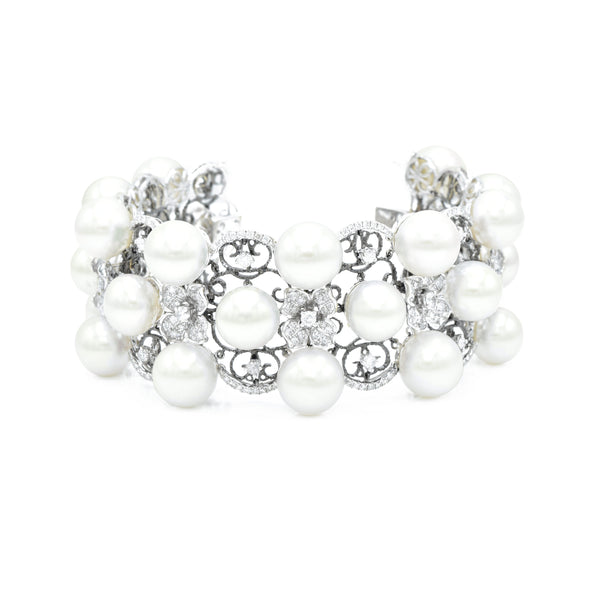 18kt White Gold, South Sea Pearl, and Diamond Three Row Bracelet with Flowers