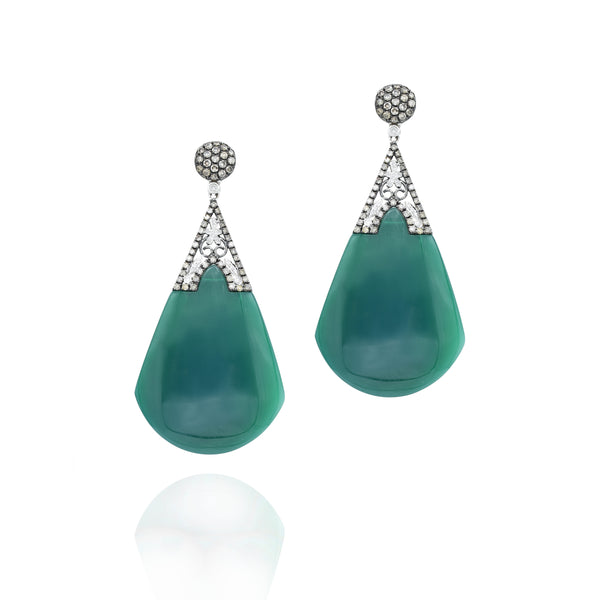 18kt Yellow Gold, Green Agate With champagne and White Diamonds Drop Earrings