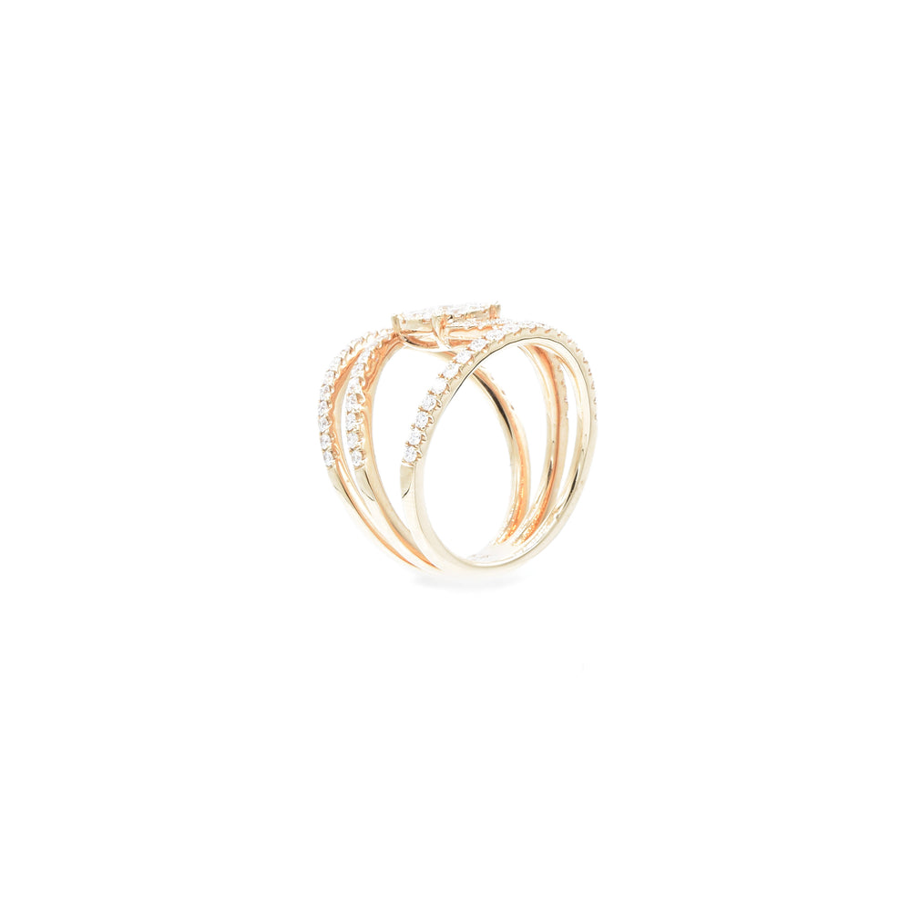 18kt Rose Gold Diamond Wide Swirl Ring