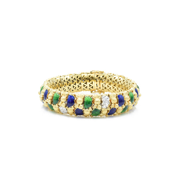 Estate 18kt Yellow Gold Enamel Bracelet with Diamonds