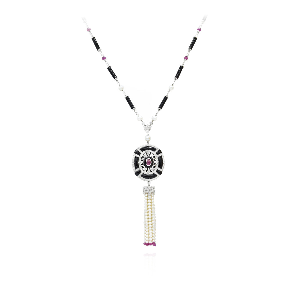 18kt White Gold Black Onyx, Pearl, Ruby Necklace