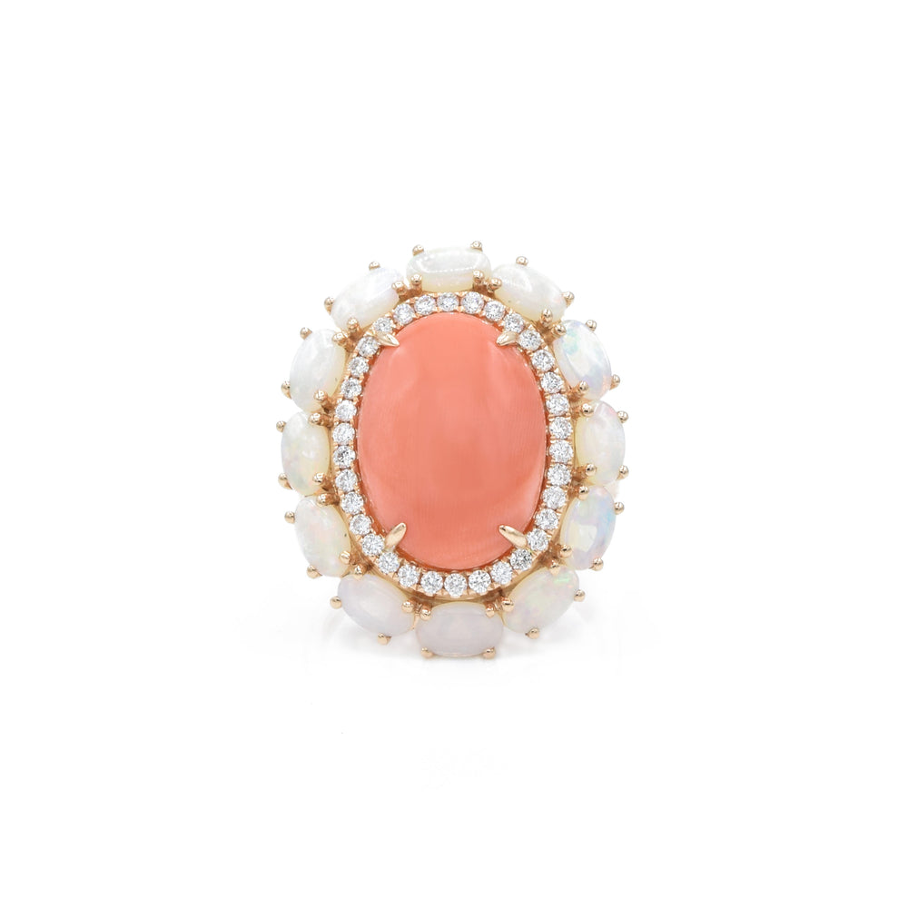 18kt Rose Gold Coral and Opal, Diamond Ring