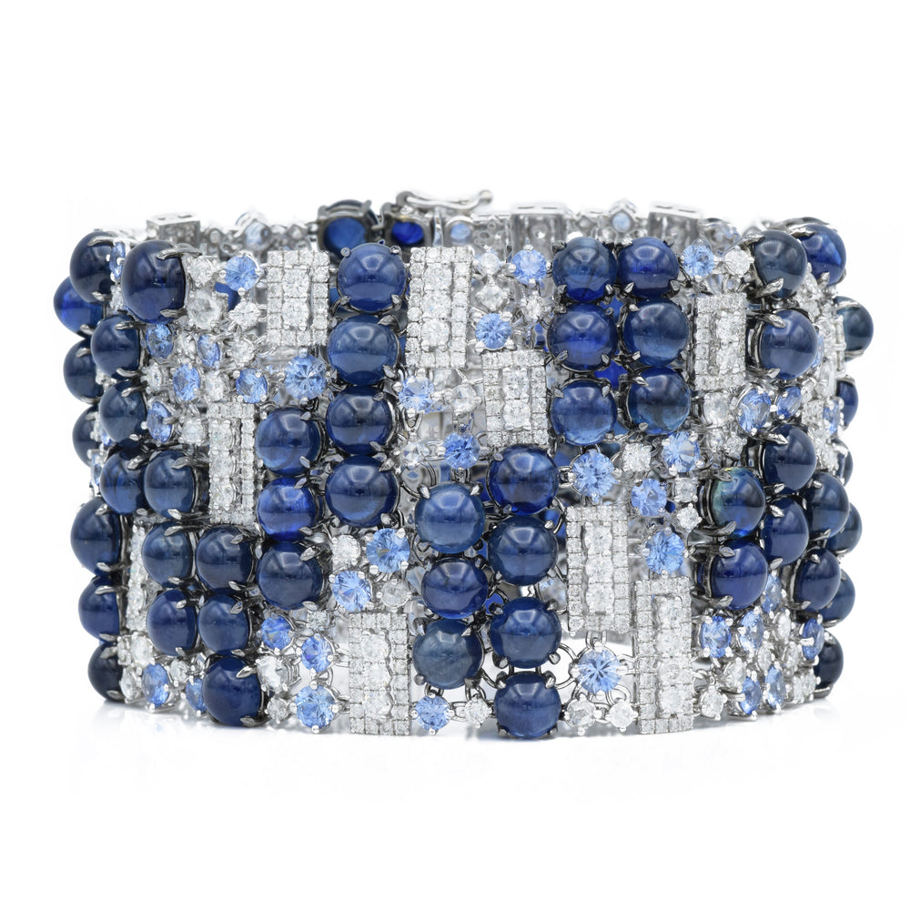 18kt White Gold, Cabochon Sapphire and Diamond Bracelet