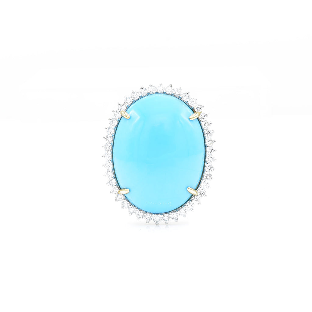 18kt Yellow Gold Natural Sleeping Beauty Turquoise Ring with Diamonds