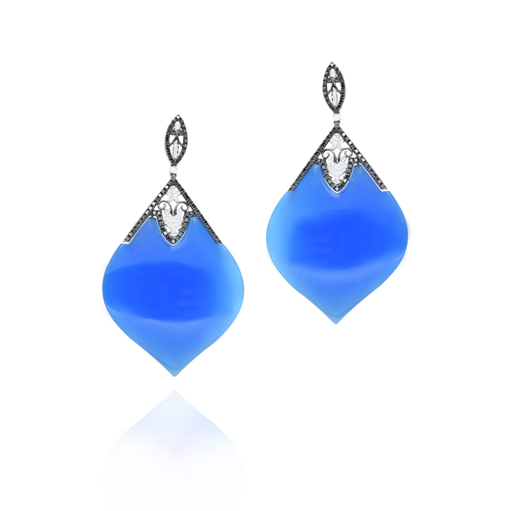 18kt White Gold Blue Agate, Black and White Diamond Drop Earrings