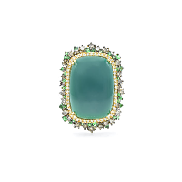 18kt Yellow Gold Green Agate Ring with Tsavorite and Champagne Diamonds