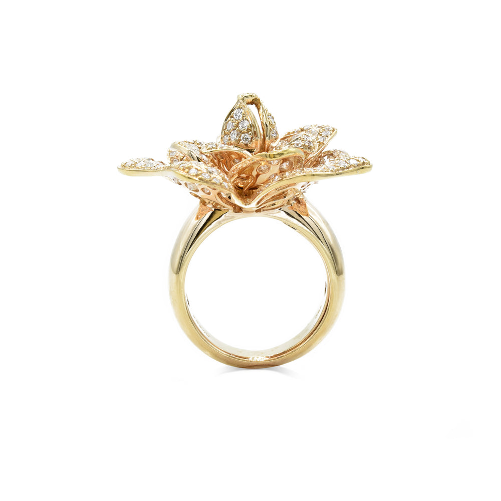 18kt Rose Gold Diamond Flower Ring