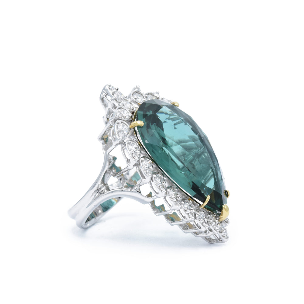 Estate 18kt White Gold Apatite and Diamond Cocktail Ring