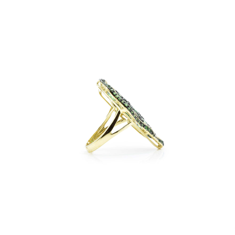 18kt Yellow Gold Green Garnet Sapphire and Diamond Ring