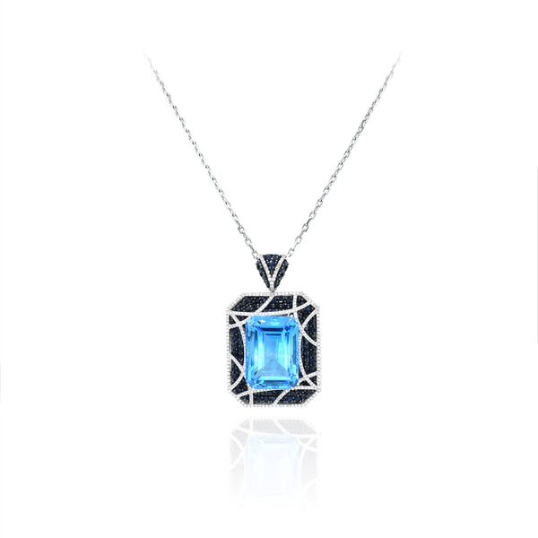 Blue Topaz, Sapphire and Diamond Pendant