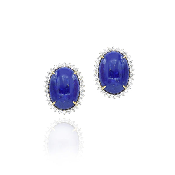 Lapis and Diamond Earrings Set in 18kt Yellow Gold