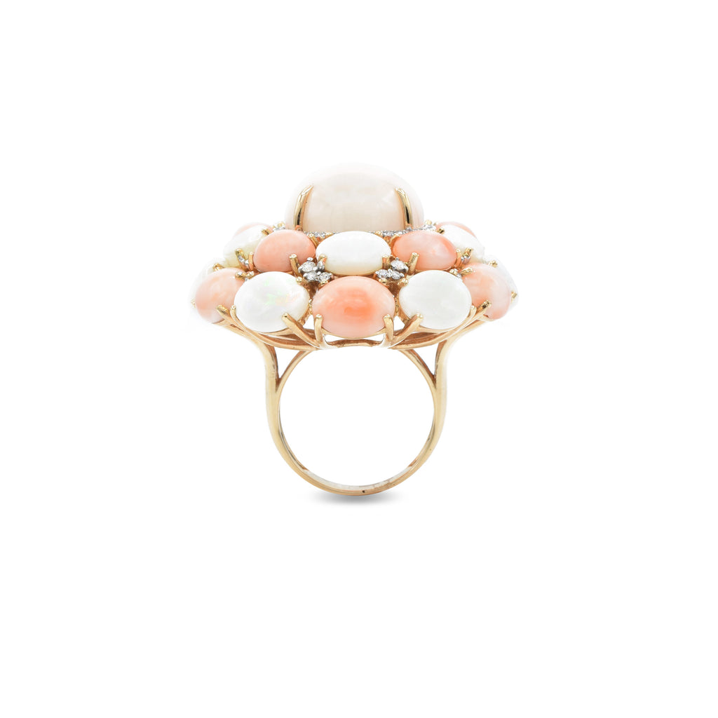 18kt Rose Gold Angel Coral and Opal with Diamond Ring