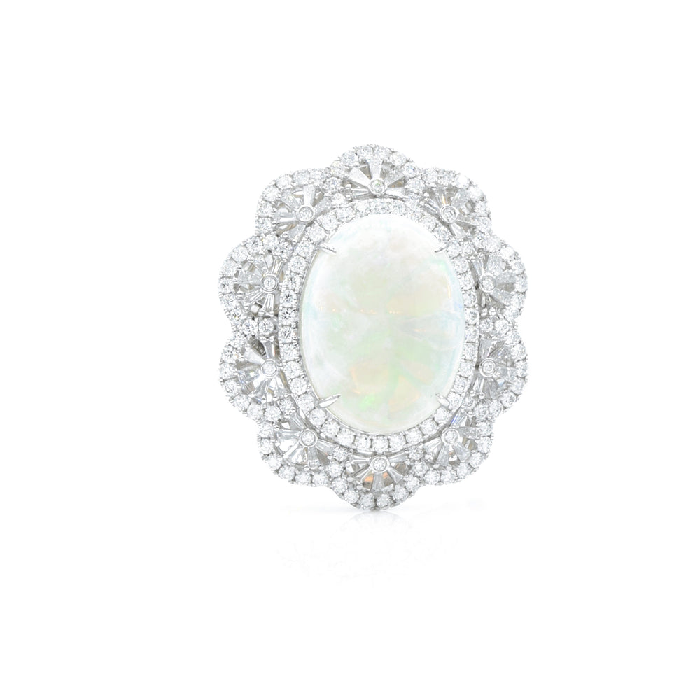 18kt White Gold Opal Center Ring with Diamonds