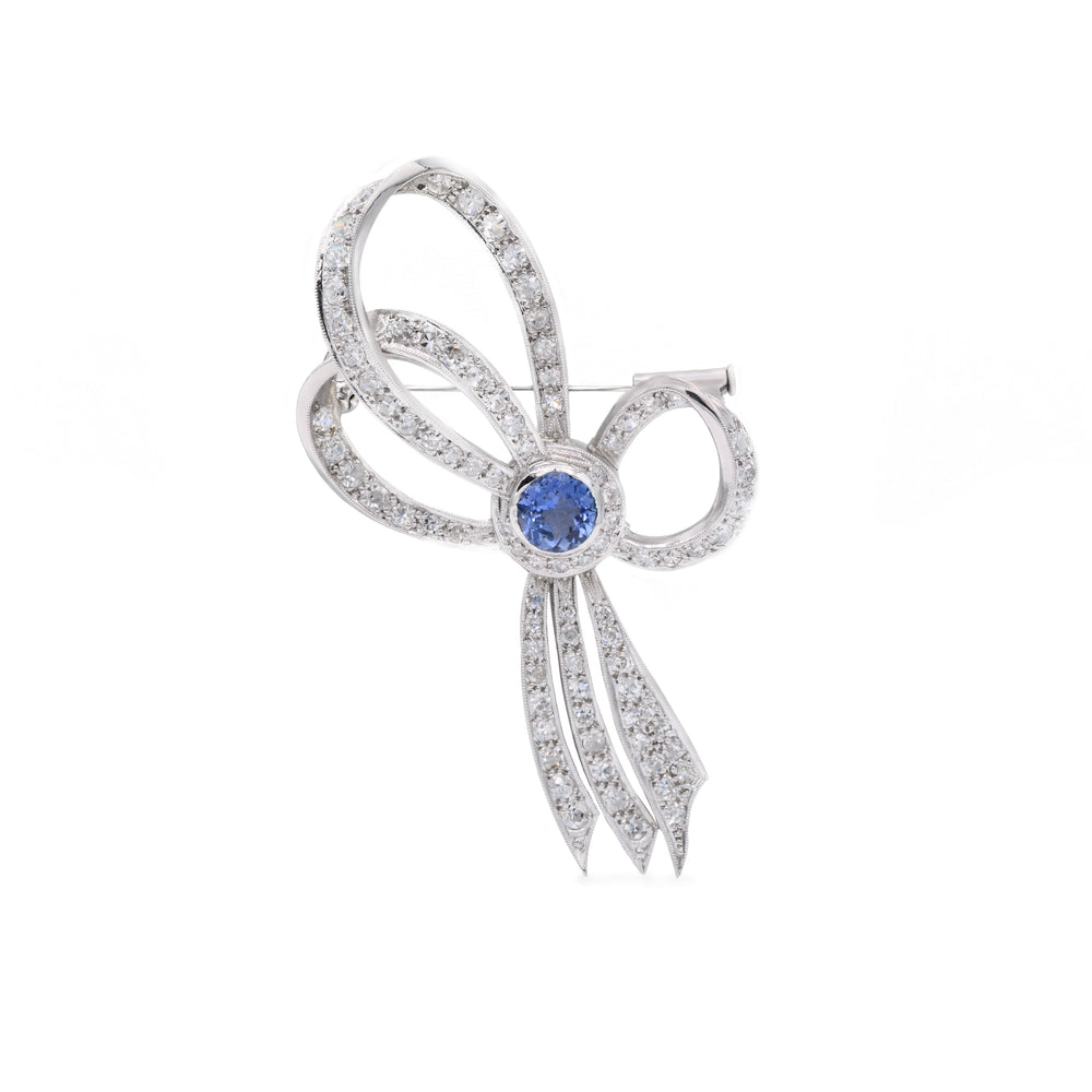 Estate Platinum Diamond and Ceylon Sapphire Pin