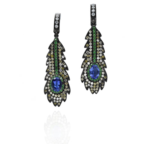 18kt Tanzanite Diamond Peacock Feather Earrings