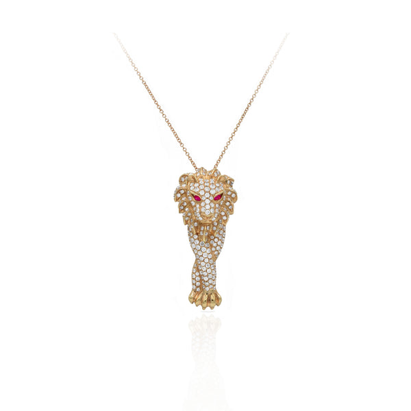 18kt Rose Gold Round-cut Diamond and Ruby Lion Pendant