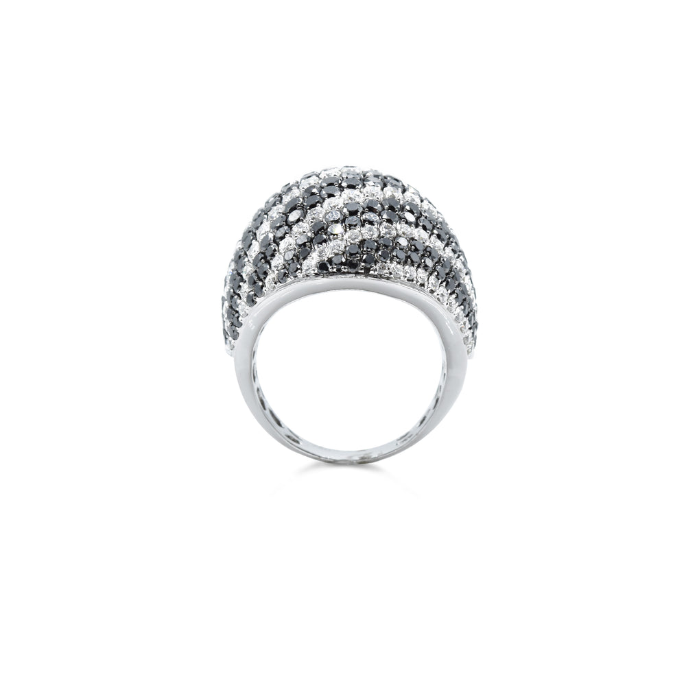 18kt White Gold Black and White Striped Diamond Ring