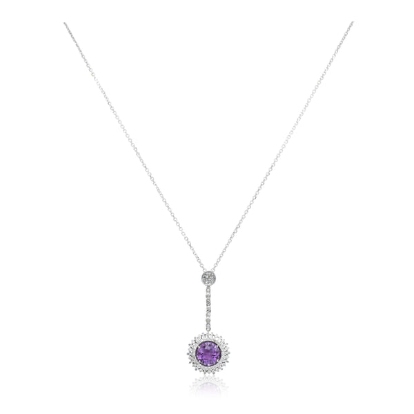 18kt White Gold, Amethyst, and Diamond Pendant