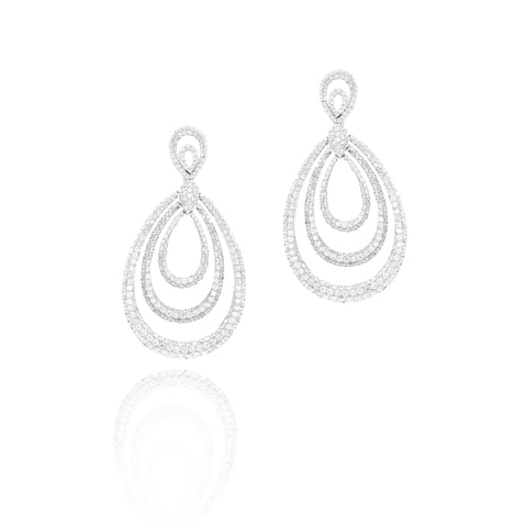 18kt White Gold Pave Diamond Triple Tear-Drop Earrings