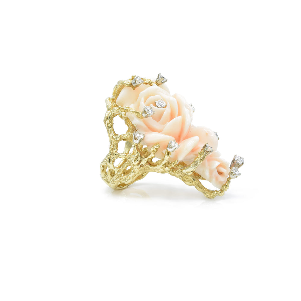 Estate 18kt Yellow Gold Coral Rose Flower Ring