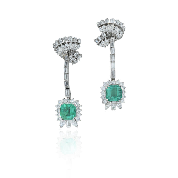 Estate Platinum Emerald and Diamond Earrings