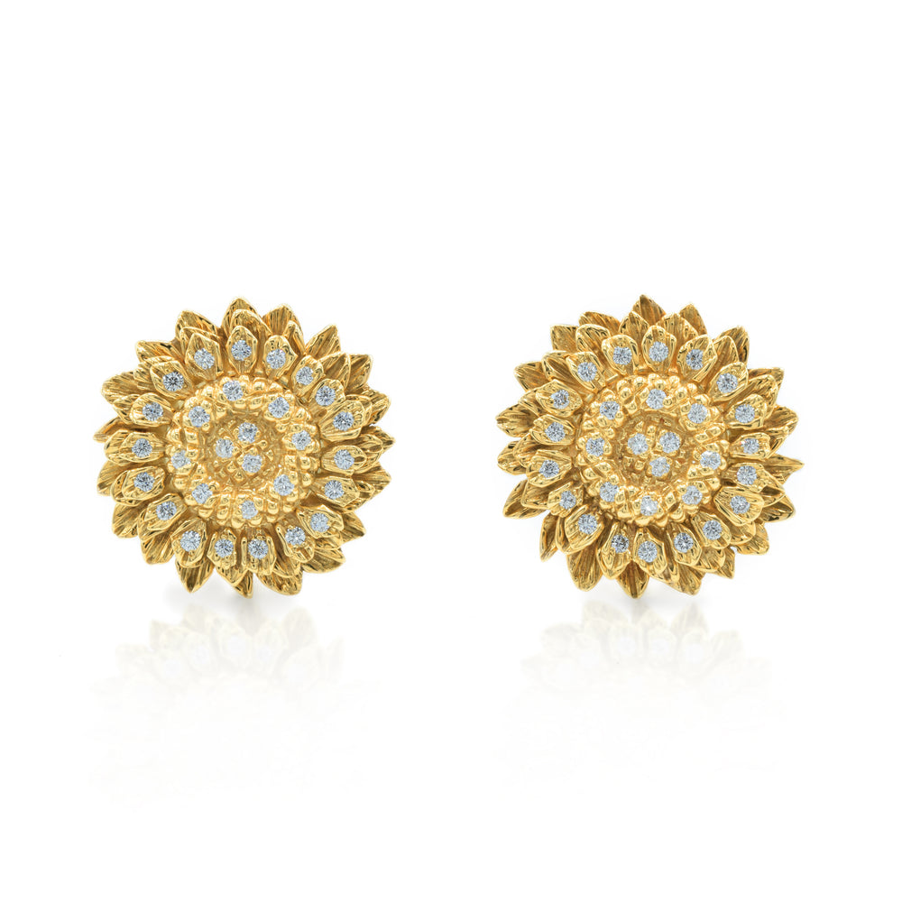 Estate 18kt Gold and 1.20ct Diamond 'Sunflower' Earrings circa 1960's