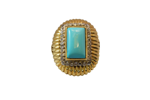 Estate Ring 18kt Gold and Natural Turquoise with .50ct Diamonds