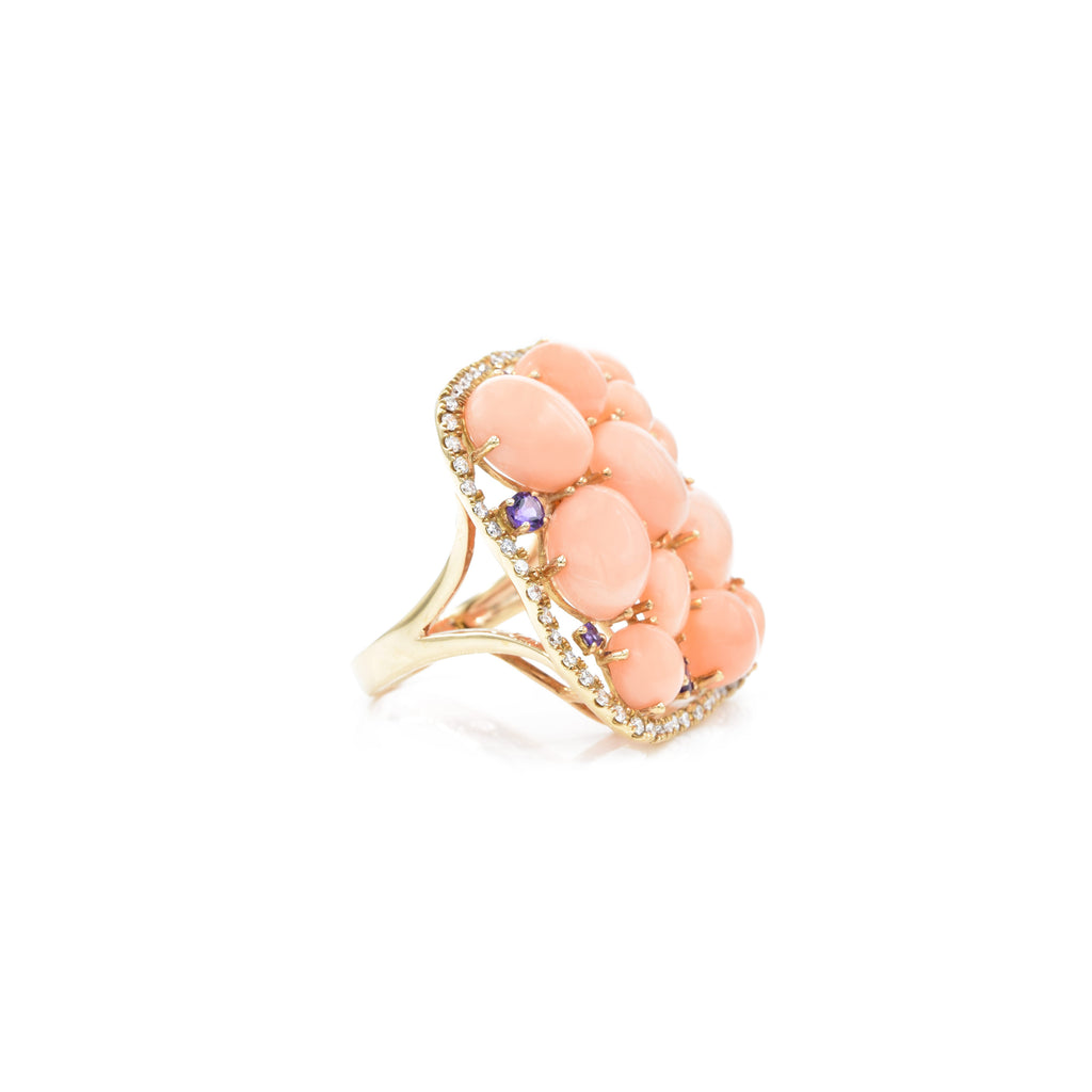 18kt Rose Gold Coral and Amethyst with Diamond Ring