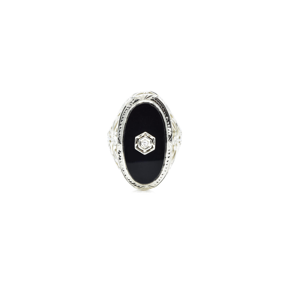 Estate Art Deco 14kt Gold Black Onyx and Diamond Ring