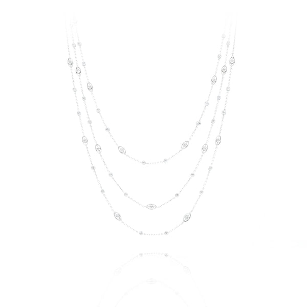 14kt White Gold Diamond Scattered Triple Strand Necklace