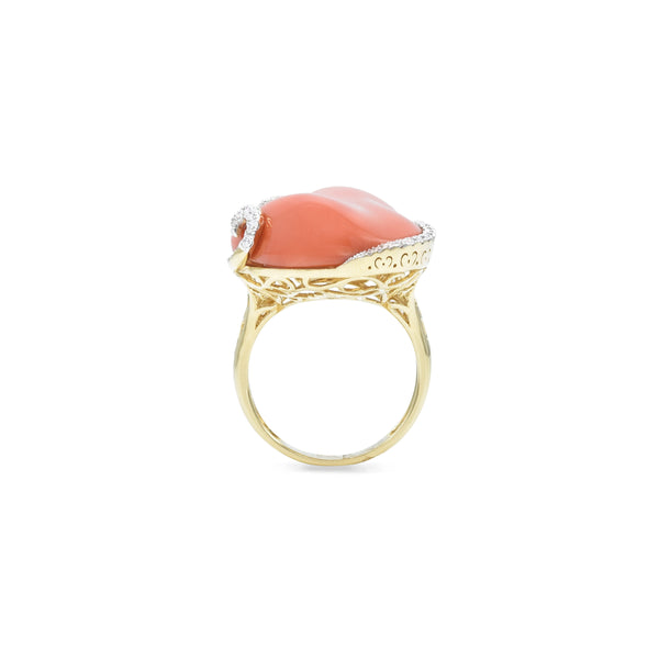 18kt Yellow Gold Coral Ring