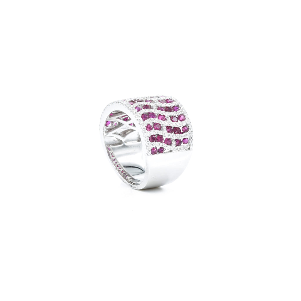 18kt White Gold, Diamond and Ruby Pattern Swirl Ring
