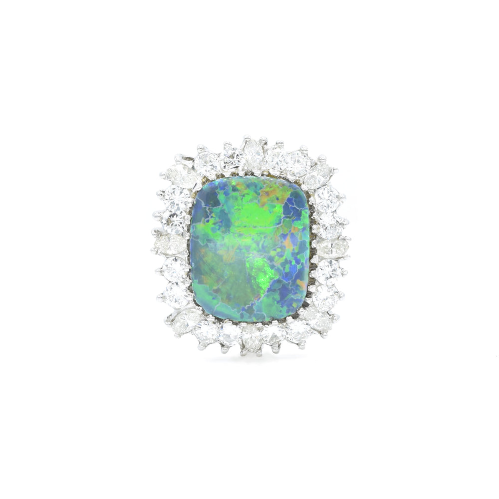 Estate Platinum Black Opal and Diamond Ring and Convertible Pendant