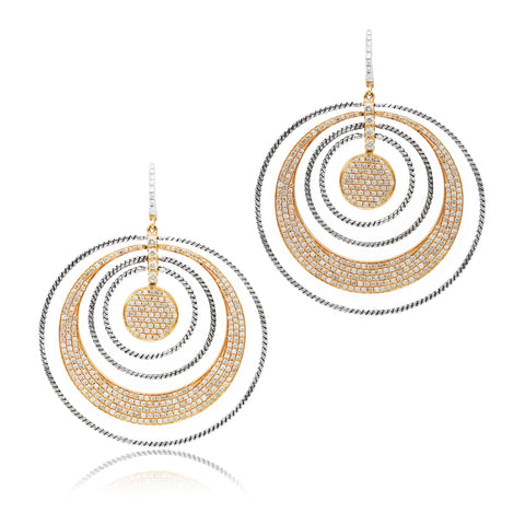 18kt Rose Gold and Champagne Diamond Drop Earrings