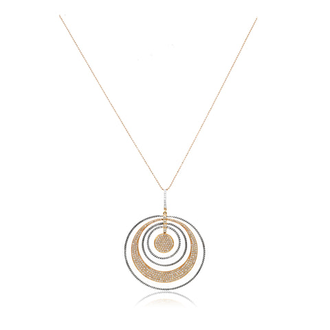 18kt Rose Gold Champagne Diamond Circle Pendant