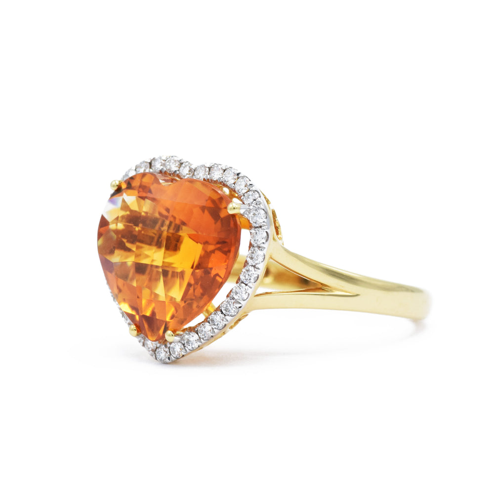 18kt Yellow Gold Heart-Shaped Citrine Ring