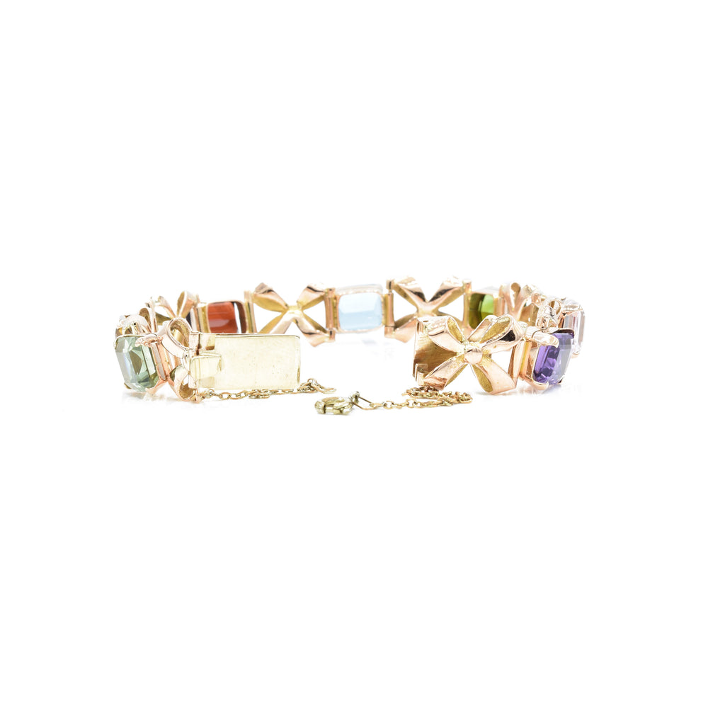 Estate 18kt Rose Gold Natural Gemstone Bracelet