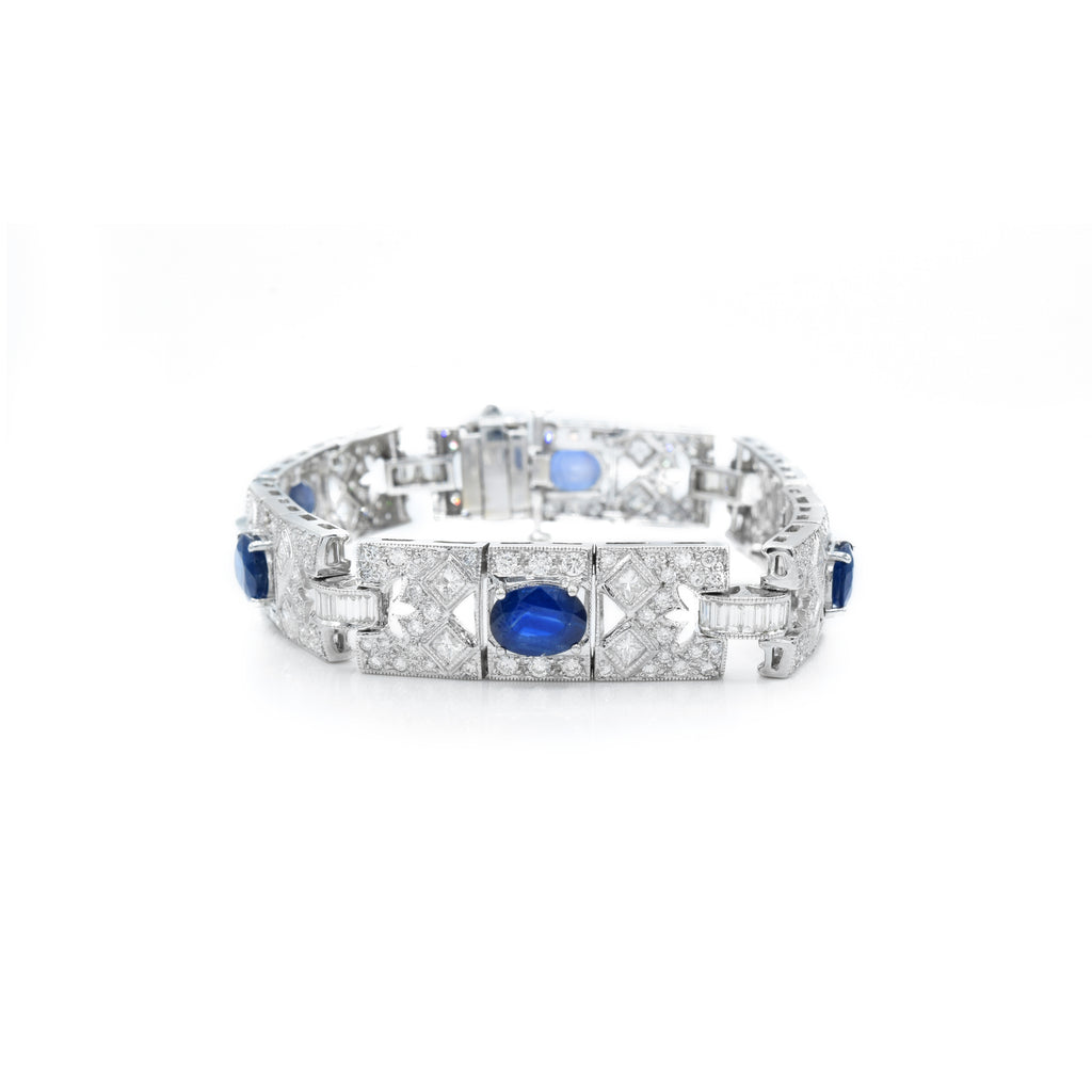 Vintage Bracelet 7.04ct Diamond and 9.43ct Sapphire