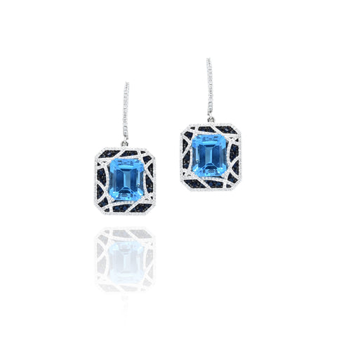 Blue Topaz Diamond and Sapphire Earrings