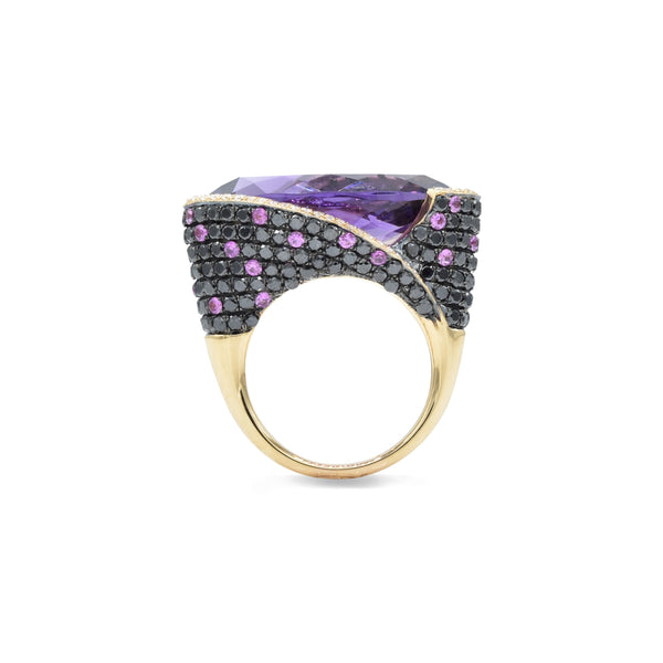 18kt Rose Gold Amethyst, Pink Sapphire, Black and White Diamond Ring
